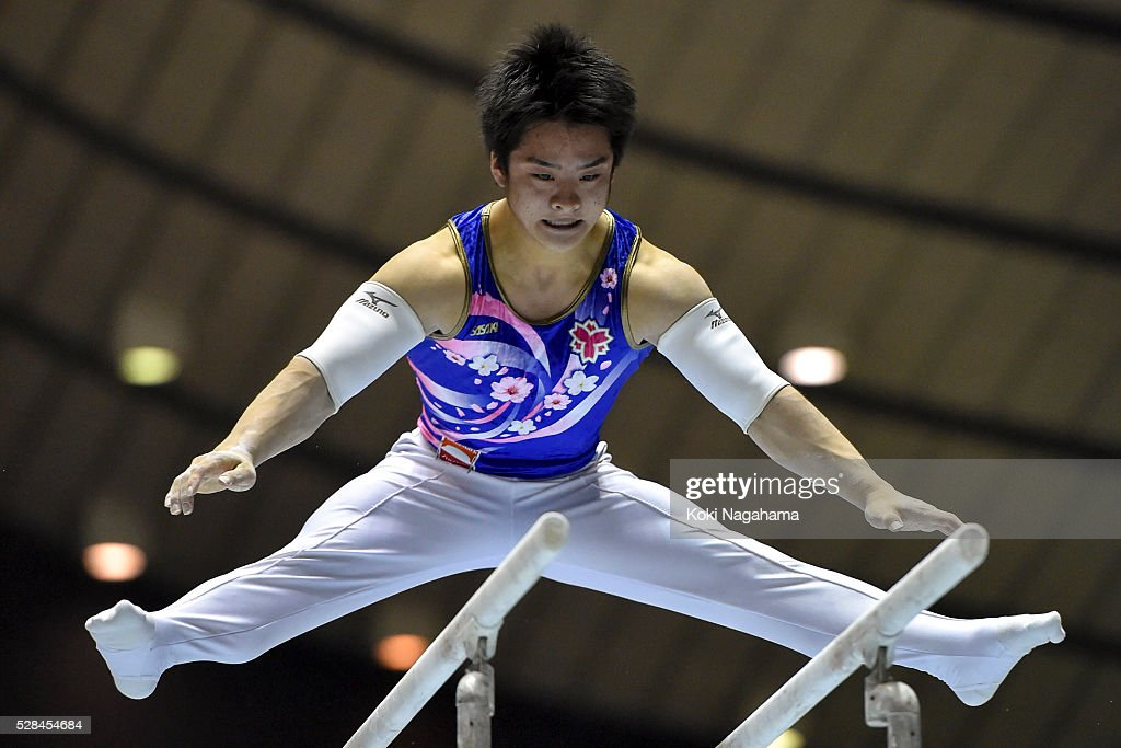 Yuya Kamoto competes in the Parallel Bars during the Artistic Gymnastics NHK Trophy at Yoyogi National Gymnasium on May 5, 2016 in Tokyo, Japan.
