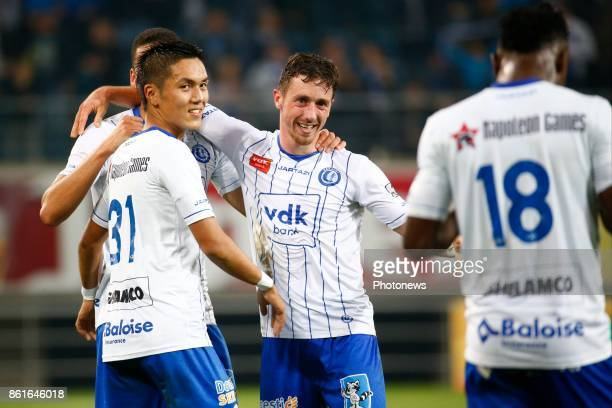 Yuya Kubo forward of KAA Gent and Brecht Dejaegere midfielder of KAA Gent celebrates pictured during the Jupiler Pro League match between KAA Gent...