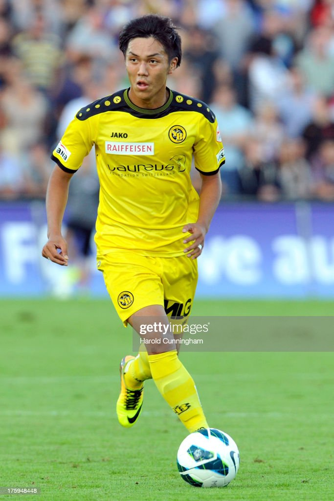 Yuya Kubo of BSC Young Boys in action during the Swiss Super League match between FC Aarau v BSC Young Boys at Brugglifeld on August 10, 2013 in Aarau, Switzerland.