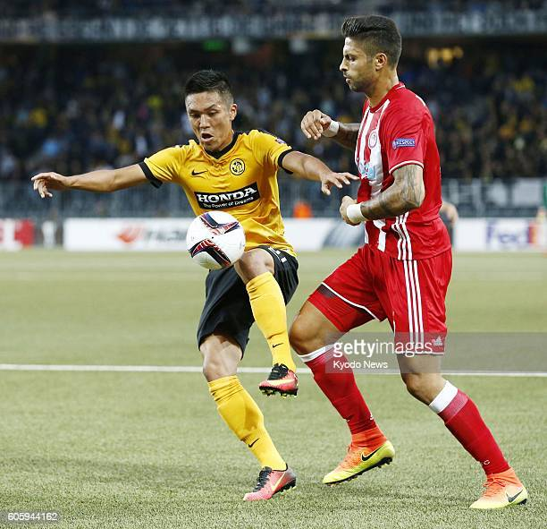 Yuya Kubo of BSC Young Boys is seen in action during the first half of a Europa League match against Olympiacos FC in Bern Switzerland on Sept 15...
