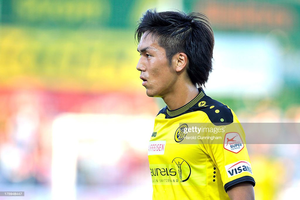 Yuya Kubo of BSC Young Boys looks on during the Swiss Super League match between FC Aarau v BSC Young Boys at Brugglifeld on August 10, 2013 in Aarau, Switzerland.