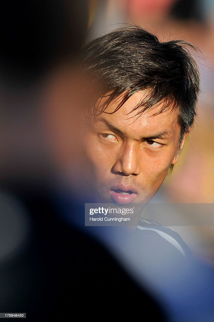 Yuya Kubo of BSC Young Boys looks on prior to the Swiss Super League match between FC Aarau v BSC Young Boys at Brugglifeld on August 10, 2013 in Aarau, Switzerland.