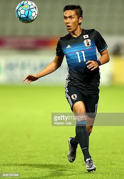 Yuya Kubo of Japan in action during the AFC U23 Championship quarter final match between Japan and Iran at the Abdullah Bin Khalifa Stadium on...