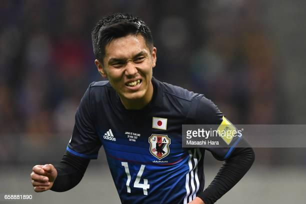 Yuya Kubo of Japan reacts during the 2018 FIFA World Cup Qualifier match between Japan and Thailand at Saitama Stadium on March 28 2017 in Saitama...