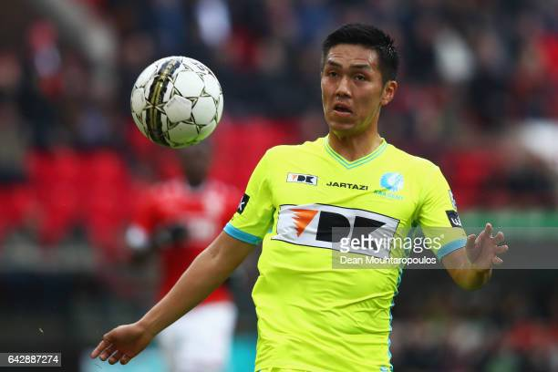 Yuya Kubo of KAA Gent in action during the Belgian Jupiler Pro League match between Royal Standard de Liege and KAA Gent held at Stade Maurice...