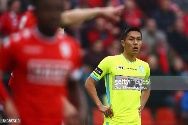 Yuya Kubo of KAA Gent looks on during the Belgian Jupiler Pro League match between Royal Standard de Liege and KAA Gent held at Stade Maurice...