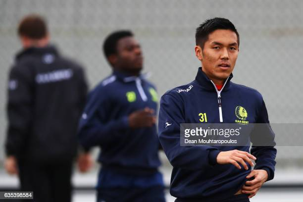Yuya Kubo of KAA Gent looks on during the KAA Gent Training Session held at the Oefencomplex Training Complex on February 15 2017 in Gent Belgium KAA...