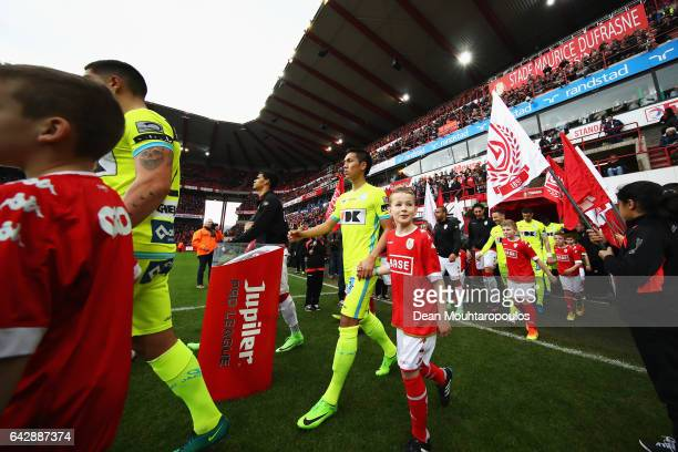 Yuya Kubo of KAA Gent walks out of the players tunnel during the Belgian Jupiler Pro League match between Royal Standard de Liege and KAA Gent held...