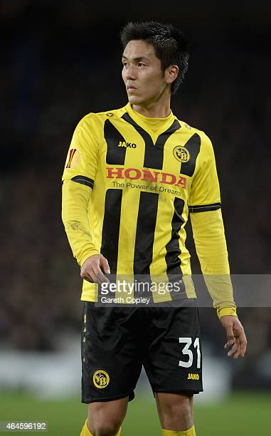Yuya Kubo of Young Boys in action during the UEFA Europa League Round of 32 match between Everton and BSC Young Boys on February 26 2015 in Liverpool...