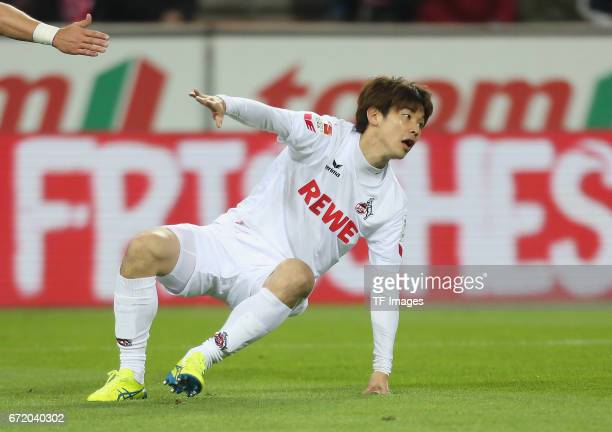 Yuya Osako controls the ball during the Bundesliga match between 1 FC Koeln and TSG 1899 Hoffenheim at RheinEnergieStadion on April 21 2017 in...