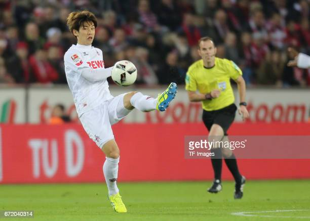 Yuya Osako controls the ball during the Bundesliga match between 1 FC Koeln and TSG 1899 Hoffenheim at RheinEnergieStadion on April 21 2017 in...