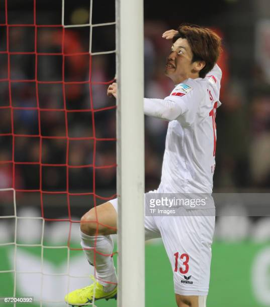 Yuya Osako gestures during the Bundesliga match between 1 FC Koeln and TSG 1899 Hoffenheim at RheinEnergieStadion on April 21 2017 in Cologne Germany