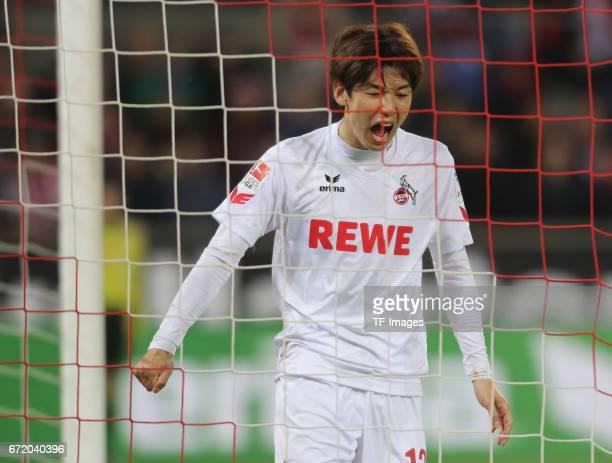 Yuya Osako looks on during the Bundesliga match between 1 FC Koeln and TSG 1899 Hoffenheim at RheinEnergieStadion on April 21 2017 in Cologne Germany