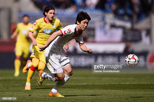 Yuya Osako of 1 FC Koeln vies for the ball during the Bundesliga match between 1 FC Koeln and 1899 Hoffenheim at RheinEnergieStadion on April 12 2015...