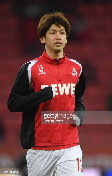 Yuya Osako of 1 FC Koeln warms up prior to the Bundesliga match between FC Ingolstadt 04 and 1 FC Koeln at Audi Sportpark on March 11 2017 in...
