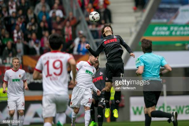 Yuya Osako of Cologne in action during the Bundesliga match between FC Augsburg and 1 FC Koeln at WWK Arena on April 15 2017 in Augsburg Germany