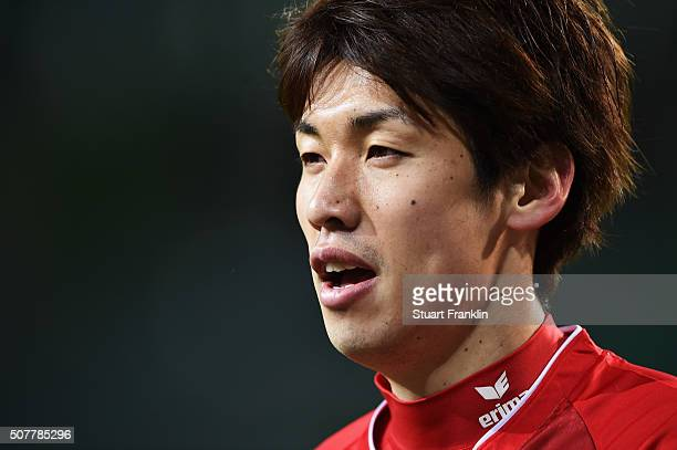 Yuya Osako of Cologne looks on during the Bundesliga match between VfL Wolfsburg and 1 FC Koeln at Volkswagen Arena on January 31 2016 in Wolfsburg...