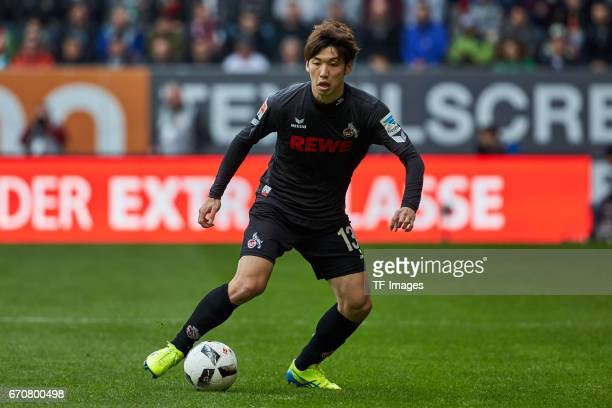 Yuya Osako of Colonge controls the ball during the Bundesliga match between FC Augsburg and 1 FC Koeln at WWK Arena on April 15 2017 in Augsburg...