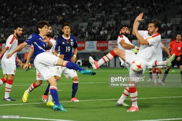 Yuya Osako of Japan and in action during the international friendly match between Japan and Syria at Tokyo Stadium on June 7 2017 in Chofu Tokyo Japan