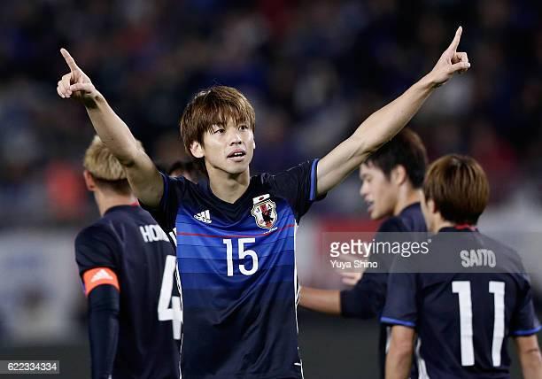 Yuya Osako of Japan celebrates scoring his team's first goal during the international friendly match between Japan and Oman at Kashima Soccer Stadium...