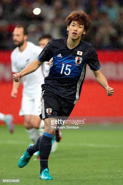 Yuya Osako of Japan elebrates scoring the opening goal during the international friendly match between Japan and New Zealand at Toyota Stadium on...