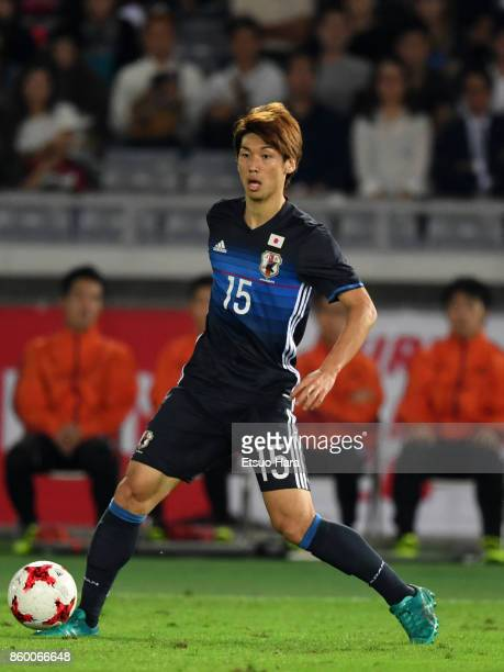 Yuya Osako of Japan in action during the international friendly match between Japan and Haiti at Nissan Stadium on October 10 2017 in Yokohama...
