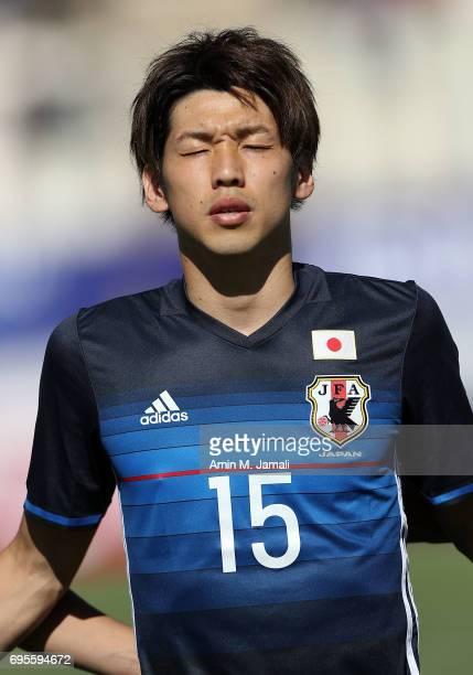 Yuya Osako of Japan looks on during the FIFA World Cup Russia Asian Final Qualifier match between Iraq and Japan at PAS Stadium on June 13 2017 in...