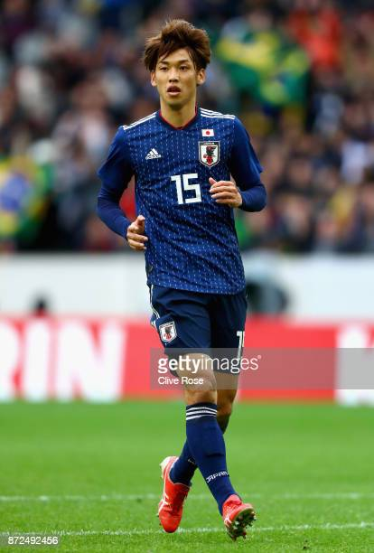 Yuya Osako of Japan looks on during the international friendly match between Brazil and Japan at Stade PierreMauroy on November 10 2017 in Lille...