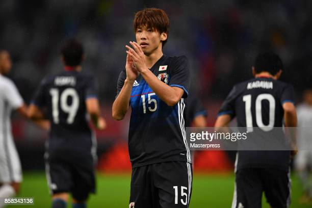 Yuya Osako of Japan reacts after scoring the opening goal from the penalty spot during the international friendly match between Japan and New Zealand...