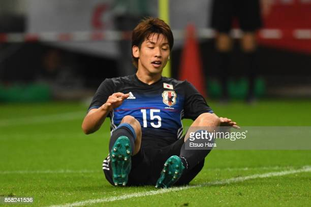 Yuya Osako of Japan reacts during the international friendly match between Japan and New Zealand at Toyota Stadium on October 6 2017 in Toyota Aichi...