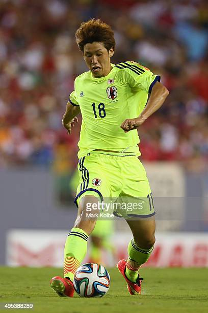 Yuya Osako of Japan runs the ball during the International Friendly Match between Japan and Costa Rica at Raymond James Stadium on June 2 2014 in...
