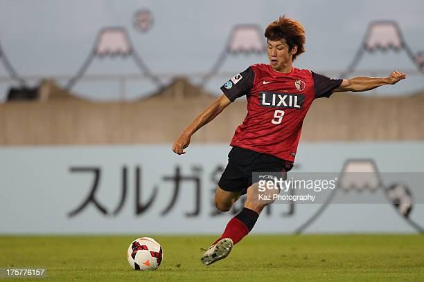 Yuya Osako of Kashima Antlers shots at goal during the pre season friendly match between Kashima Antlers and Sao Paulo at Kashima Stadium on August 7...
