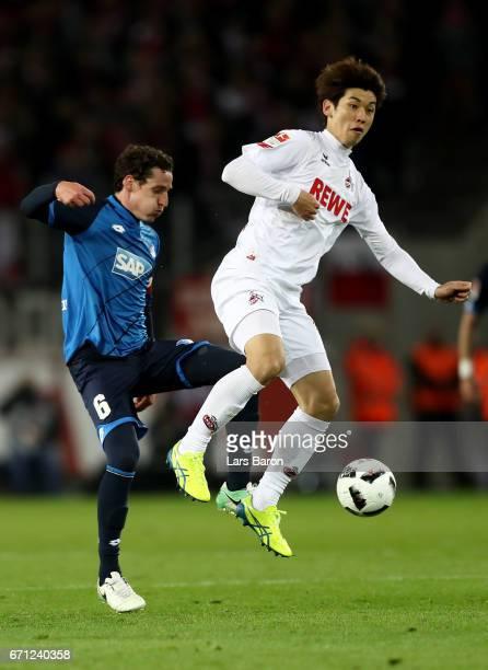 Yuya Osako of Koeln and Sebastian Rudy of Hoffenheim battle for the ball during the Bundesliga match between 1 FC Koeln and TSG 1899 Hoffenheim at...