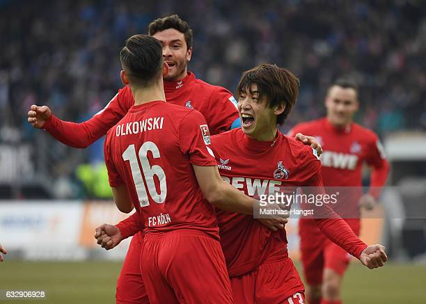 Yuya Osako of Koeln celebrates after scoring his team's first goal during the Bundesliga match between SV Darmstadt 98 and 1 FC Koeln at Stadion am...