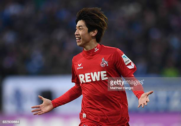 Yuya Osako of Koeln celebrates after scoring his team's fourth goal during the Bundesliga match between SV Darmstadt 98 and 1 FC Koeln at Stadion am...