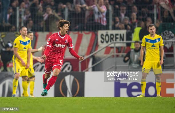 Yuya Osako of Koeln celebrates his teams second goal during the UEFA Europa League group H match between 1 FC Koeln and BATE Borisov at...