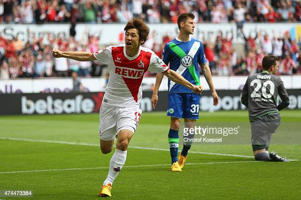 Yuya Osako of Koeln celebrates the first goal during the Bundesliga match between 1 FC Koelan and VfL Wolfsburg at RheinEnergieStadion on May 23 2015...