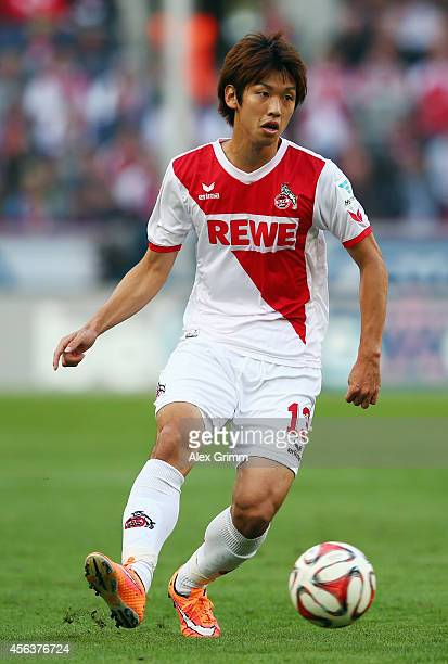 Yuya Osako of Koeln controles the ball during the Bundesliga match between 1 FC Koeln and Borussia Moenchengladbach at RheinEnergieStadion on...
