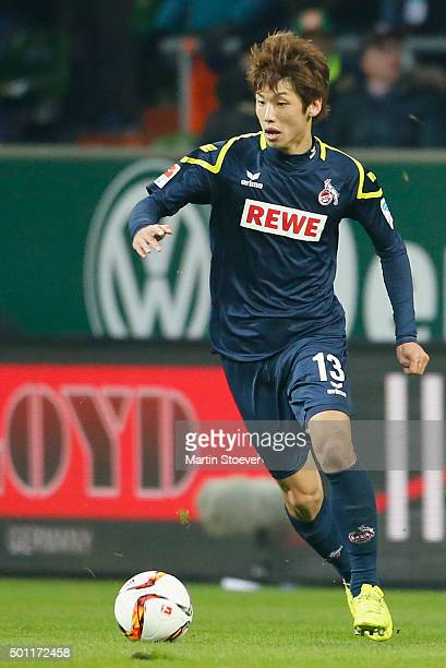 Yuya Osako of Koeln plays the ball during the Bundesliga match between Werder Bremen and 1 FC Koeln at Weserstadion on December 12 2015 in Bremen...