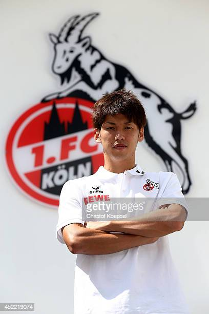 Yuya Osako of Koeln poses during his presentation as the new player of 1 FC Koeln at Geissbockheim on July 16 2014 in Cologne Germany
