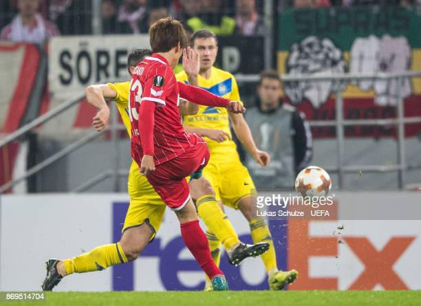 Yuya Osako of Koeln scores his teams second goal during the UEFA Europa League group H match between 1 FC Koeln and BATE Borisov at...