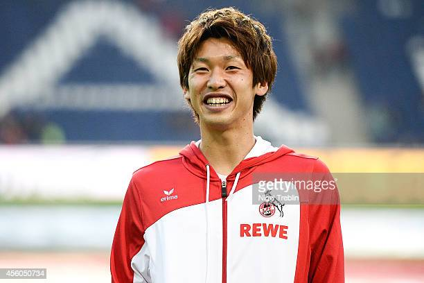Yuya Osako of Koeln warms up prior to the Bundesliga match between Hannover 96 and 1 FC Koeln at HDIArena on September 24 2014 in Hanover Germany