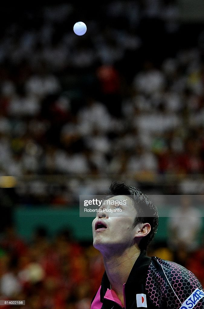 Yuya Oshima of Japan competes against Zhang Jike of China during the 2016 World Table Tennis Championship Men's Team Division final match at Malawati Stadium on March 6, 2016 in Shah Alam, Malaysia.