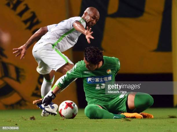 Yuya Sato of JEF United Chiba and Dinei of Shonan Bekkmare compete for the ball during the JLeague J2 match between JEF United Chiba and Shonan...