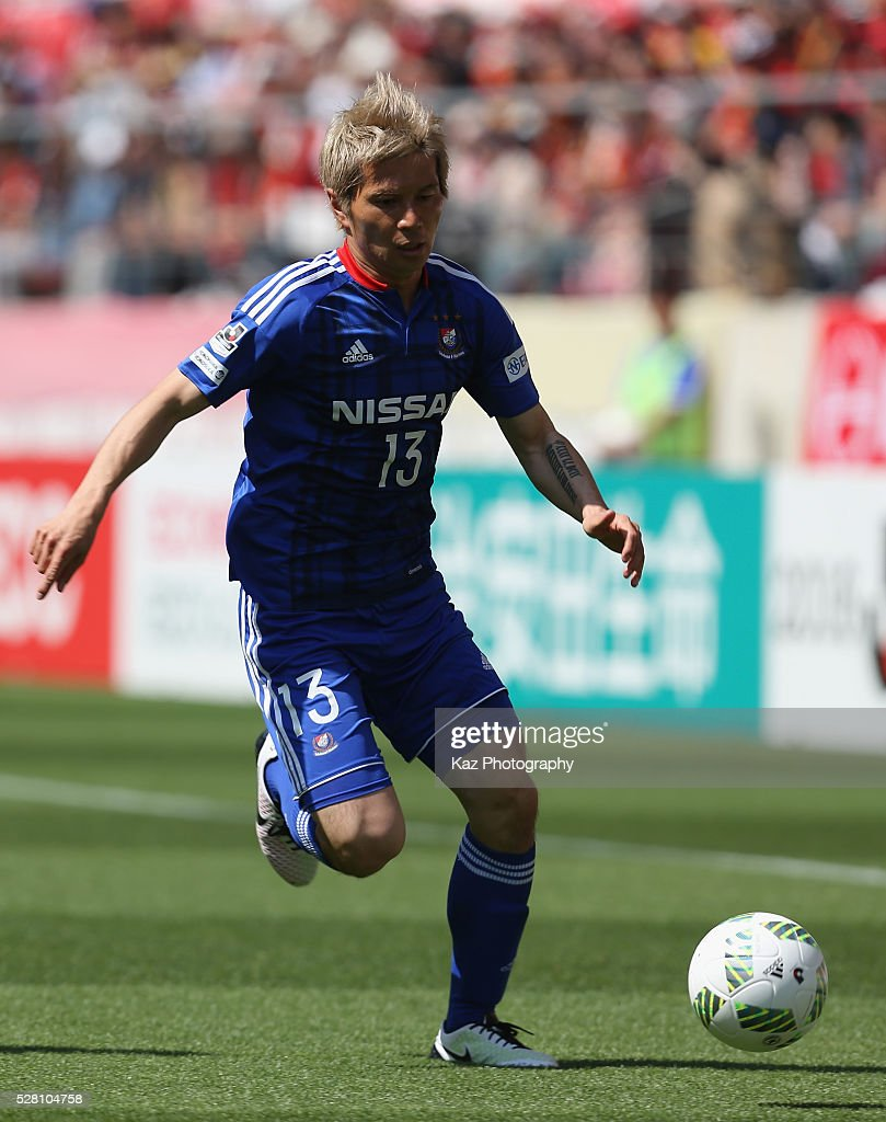 <a gi-track='captionPersonalityLinkClicked' href=/galleries/search?phrase=Yuzo+Kobayashi&family=editorial&specificpeople=2342516 ng-click='$event.stopPropagation()'>Yuzo Kobayashi</a> of Yokohama F.Marinos in action during the J.League match between Nagoya Grampus and Yokohama F.Marinos at the Toyota Stadium on May 4, 2016 in Toyota, Aichi, Japan.