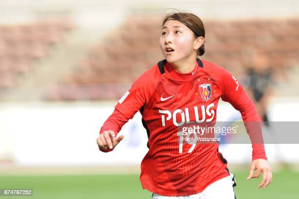Yuzuho Siokoshi of Urawa Red Diamonds Ladies in action during the Nadeshiko League match between Urawa Red Diamonds Ladies and Mynavi Vegalta Sendai...