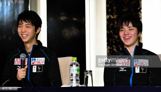 Yuzuru Hanyu and Shoma Uno of Japan attend a press conference ahead of the ISU Team Trophy at Keio Plaza Hotel on April 19 2017 in Tokyo Japan