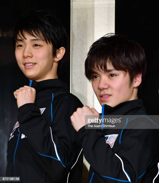 Yuzuru Hanyu and Shoma Uno of Japan pose for photographs during a press conference ahead of the ISU Team Trophy at Keio Plaza Hotel on April 19 2017...
