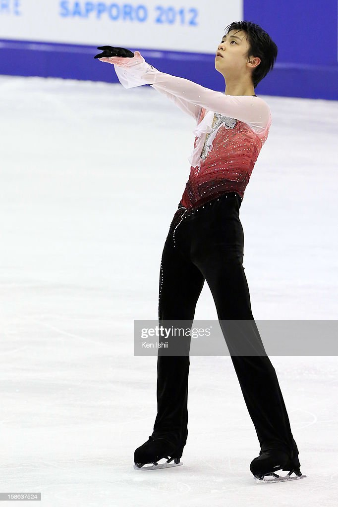 Yuzuru Hanyu competes in the Men's Free Program during day two of the 81st Japan Figure Skating Championships at Makomanai Sekisui Heim Ice Arena on December 22, 2012 in Sapporo, Japan.