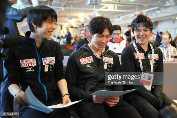 Yuzuru Hanyu Keiji Tanaka and Shoma Uno of Japan attend the Men's singles draw during day one of the World Figure Skating Championships at Hartwall...